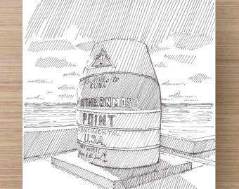 Ink Drawing of iconic Southernmost Point in Key West, Florida - Buoy, Marker, Geography, Sketch, 5x7 Print, Art, Illustration, Pen and Ink