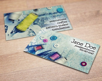 100 Custom Sewing Business Cards - A Stitch in Time - Personalized Calling Cards with Thread, Buttons, & Scissors
