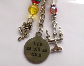 Beauty and the Beast Keyring - Tale as Old as Time, Rose, Candlestick, Belle
