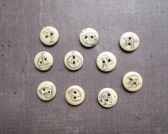 40 wood pattern buttons end black sailor Sea Beach 1.5 cm