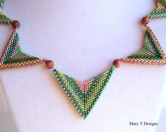 Chevron Beadwoven Necklace...EBW Team...Green, Pink, Brown, Tan