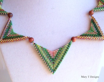 Chevron Beadwoven Necklace...EBW Team...Green, Pink, Brown, Tan