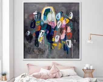 Large artwork GICLEE print, colorful mid century modern art in black Sparkles 2