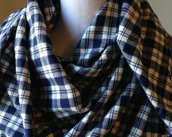 Navy Plaid Flannel Blanket Scarf,  Blue and White Plaid Scarf, Flannel Scarf, Scarf, , Plaid Blanket Scarf, Gift for Her, FREE SHIPPING
