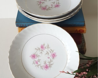 Vintage Mismatched Dishes, Assorted Pastel Floral Design, 4pc Set of Porcelain Salad Bowls, Shabby Chic, Wedding, Dinner Party, Tea Party,