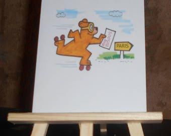 Bear on skates customizable card