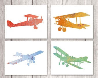 Airplane Nursery Wall Art (Set of Four 8x10s) Nursery Decor, Plane Nursery, Airplane Prints, Printable Nursery, Printable Art