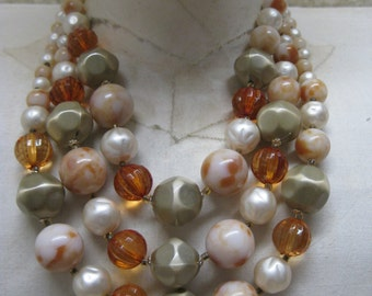 Pearl Amber White Tan Three Strand Necklace Vintage
