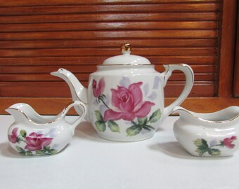 Betty Highgate Clark Club Roses China Teapot with Cream and Sugar