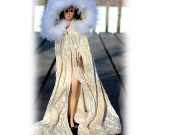 Luxurious Pale Yellow Cape with Feather Trim & Armholes fits 1:6 Scale Fashion Dolls. (Cape only, Barbie Doll not included) Toy doll clothes