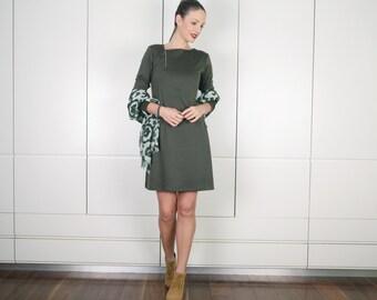 ON SALE Olive Green Dress, Winter Dress, Long Sleeve Dress, High Fashion Dress, Zipper Dress, Mini Dress, Jersey Dress, Clothes Women,Winter