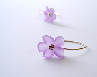 Lucite Flower Earrings, Orchid Purple Frosted Lucite, Bridesmaid or Flower Girl Jewelry