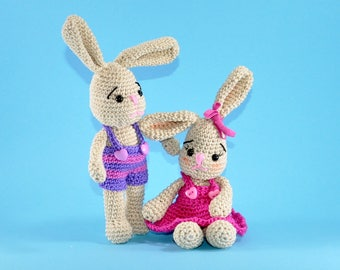 Bunny Hazel and Hope Amigurumi crochet pattern