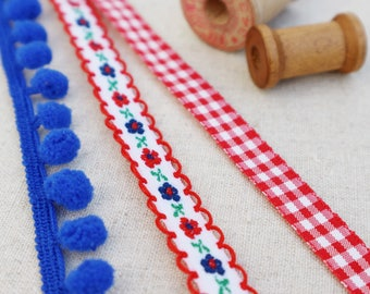 Pretty Red and Blue Ribbon Collection. Royal Blue pompom trim. Red gingham ribbon. Sewing trim. blue pompom. Christmas ribbon