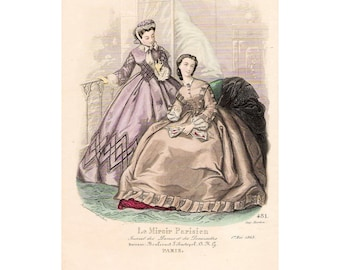Lovely original French 1863 Paris fashion print