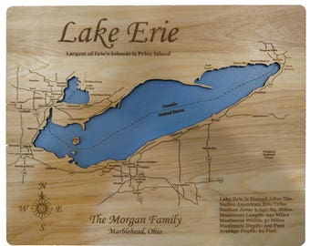 Wood Laser Cut Map of Lake Erie Topographical Engraved Map
