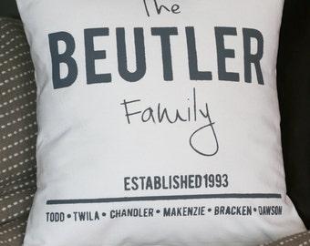 Family Pillow, Personalized Pillow, Custom Pillow, Anniversary Pillow, Throw Pillow, Decorative Pillow, Gift Pillow, Burlap Pillow,