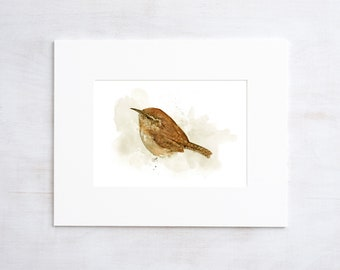 Carolina Wren Watercolor Painting 5x7 Print