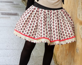 Original Retro Rockabilly Ecru Taupe Red skirt Fifties design skirt with polka dots. Retro pleated skirt