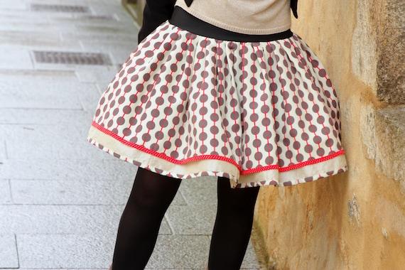 Original Retro Rockabilly Ecru Taupe Red skirt Fifties design skirt with polka dots. Retro pleated skirt