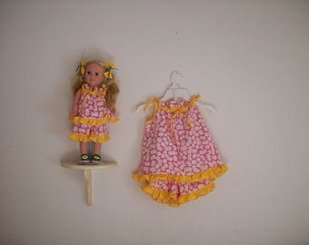 """Matching 18"""" Doll  and Girls Short Daisy Outfit"""