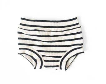 White with Small Black Stripe Shorties