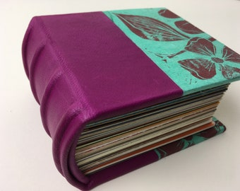 Heirloom Journal, magenta/aqua journal with leather spine & mixed-media papers, Small case-bound Journal