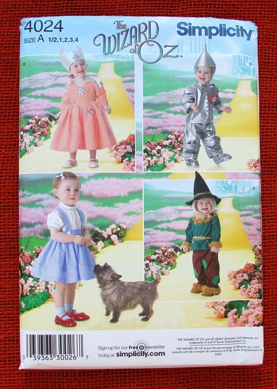 Wizard of Oz Costume Sewing Pattern Simplicity 4024 Dorothy Glinda ...