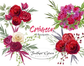 Watercolor Red Roses White Roses Pink Flowers Watercolor Clipart | Watercolor Art | Watercolor Clipart | Wedding | Bridal | Shower Florals
