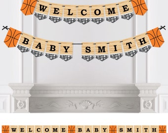Nothin' But Net - Basketball Bunting Banner - Personalized Baby Shower or Birthday Party Bunting Banner & Decorations - Hanging Party Décor