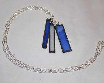 Blue and White stained glass tassel pendant