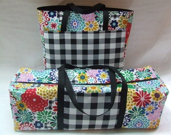 Carrying Case for the Cricut Maker/Cricut Explore Air/Explore Air 2/Brother ScanUCut/Silhouette Cameo 3/ Black White Check Bright Flowers