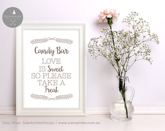 Candy Bar Sign | Lolly Bar Sign | Wedding Sign | Wedding Frame | Rustic Wedding | Wedding Frame  | DIY Print Sian Ashlee Design