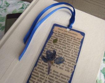 Blue Pressed Flower Jane Austen Book Page Laminated Bookmark