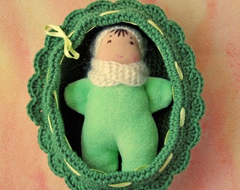 Waldorf inspired rag green baby doll in a crochet crib Steiner doll Baby dolls in cribs Eco Doll Waldorf Pocket doll Waldorf toy Cuddle doll