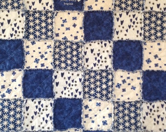 Homemade Quilt, Rag Quilt, Throw, Patchwork Quilt, Embroidered Blanket, Quilts Handmade, Home is Where, Rag Quilt For Sale, Blue White Quilt