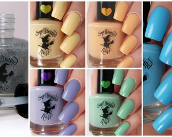 FULL SIZE The Lights with free holographic topper - custom handcrafted bright pastel colored creme nail polish collection