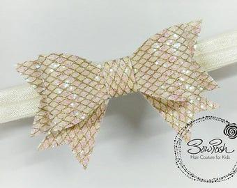 Tauni- Ivory glitter bow, glitter bows, glitter bow, faux leather bow, bow headband, glitter headband, BowPosh headband, netting bow