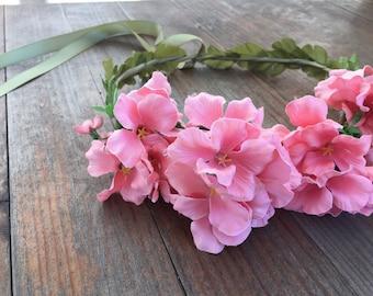 Pink Hydrangea Flower Crown