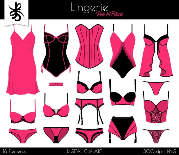 lingerie digital clipart boudoir pink and rh etsy com Bachelorette Clip Art Brunch Clip Art