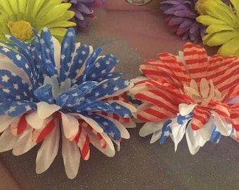 Red, White, and Blue Flower Hair Clips