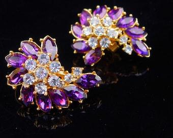 Trifari earrings / purple flower spray / clip on gold earrings / Vintage earrings / amethyst birthstone / signed estate jewellery