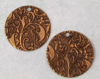 Floral Embossed Round Boho Charm, Brass Ox, 19 MM, 2 pieces, AB160