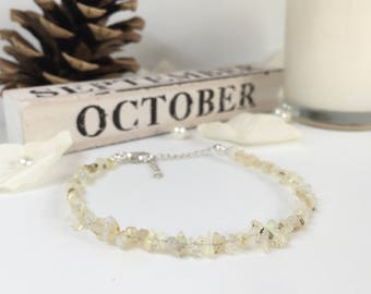 Ethiopian Opal Bracelet, October Birthstone, Gift For Her, Sterling Silver, Raw, Dainty Bracelet, Gift for Women, Beaded Bracelet, Gift