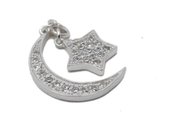 Crescent Moon Pendant with Dangling Star - Sterling Silver with Rhinestone Pave (LA-215)