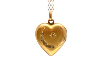 Victorian Heart Moon Star Locket