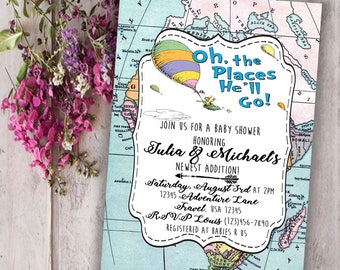Digital Oh the places you'll go Invitation File