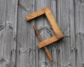 ntique wooden clamp Screw clamp Large vintage clamp Woodworking tools Vintage screw clamp C clamp Antique wooden tools Vintage vise