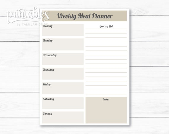 Customizable Meal Planner with Grocery List Template Weekly