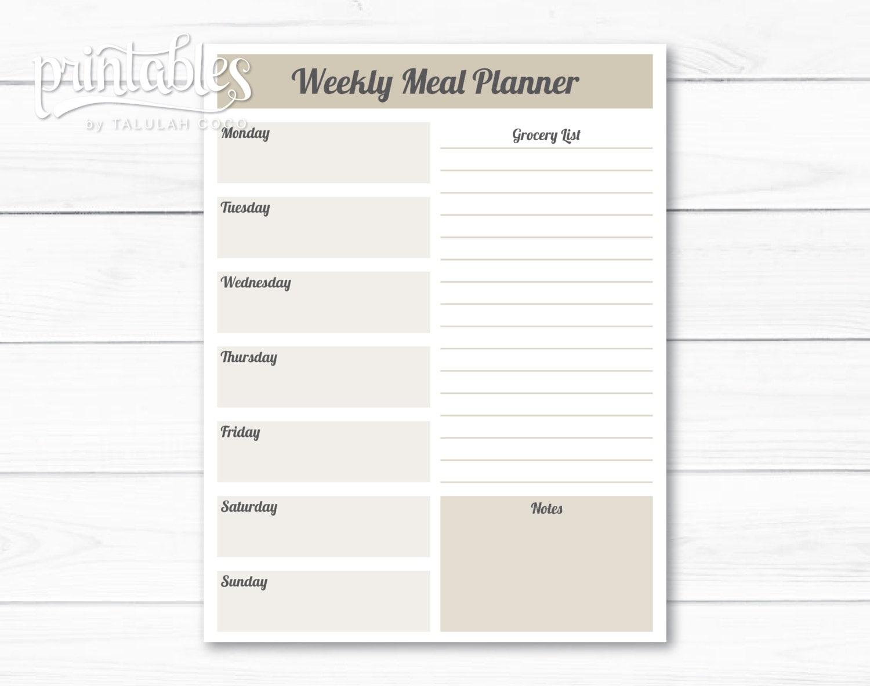 Planificador de comidas personalizables con plantilla de la